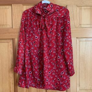 GLAMOROUS red floral petite dress w/ front tie-bow